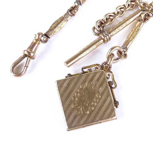 705 - A 19th century unmarked yellow metal fancy bar link Albert chain, with dog clip T-bar and locket, ch...