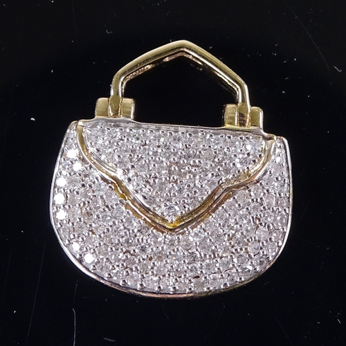 715 - A modern 9ct gold diamond cluster purse pendant, total diamond content approx 0.5ct, pendant height ...