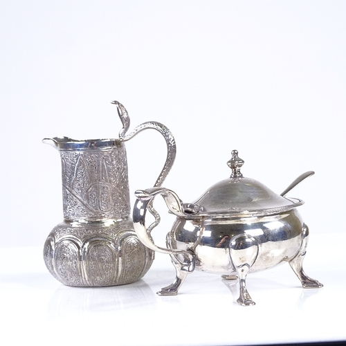 726 - Various silver and white metal, including George VI mustard pot by William Comyns, engraved Vesta ca...