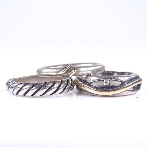 741 - 3 Danish sterling silver and gilt modernist stylised rings, no maker's marks, largest band width 6.2...