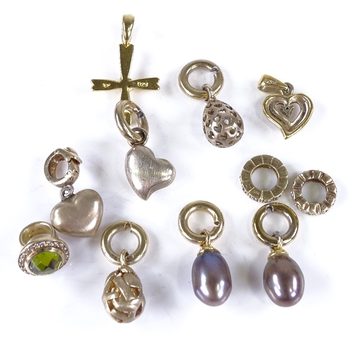 743 - Various silver-gilt pendants and charms, including pearl and stone set examples, 30.7g total (11)...
