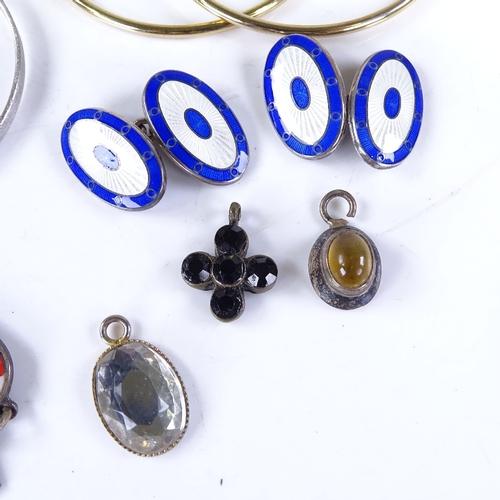 745 - Various jewellery, including silver and enamel cufflinks, stylised enamel earrings, enamel bracelet ...