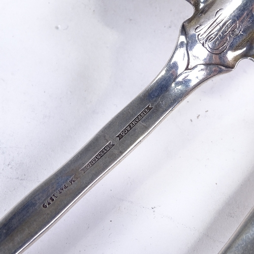 751 - TIFFANY & CO - a pair of 19th century American sterling silver salad servers, relief floral decorate...