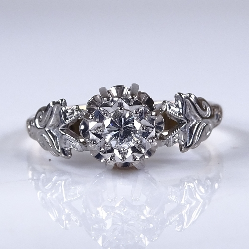 754 - A large 18ct gold 0.15ct solitaire diamond ring, platinum-topped floral settings with cage design br...
