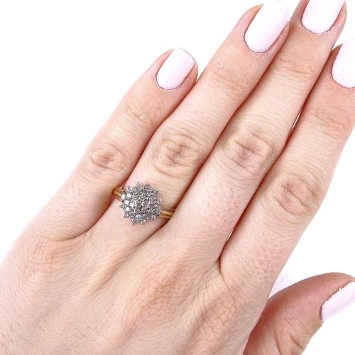 760 - 2 modern 9ct gold diamond cluster dress rings, flowerhead ring size P, cross-over ring size L, 5.2g ...