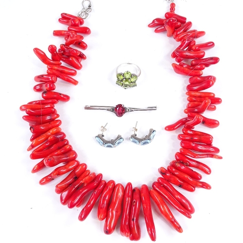 765 - Various jewellery, including coral necklace, red stone bar brooch etc...