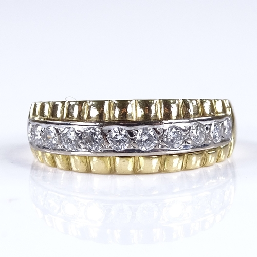 771 - A modern 18ct gold diamond half eternity ring, total diamond content approx 0.5ct, setting height 7....