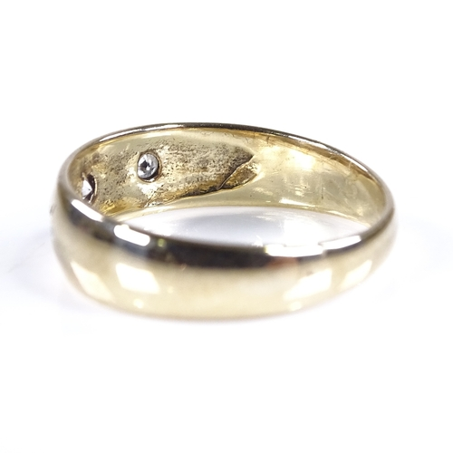 774 - A mid-20th century 9ct gold 3-stone diamond gypsy ring, setting height 5.9mm, size O/P, 2.6g...