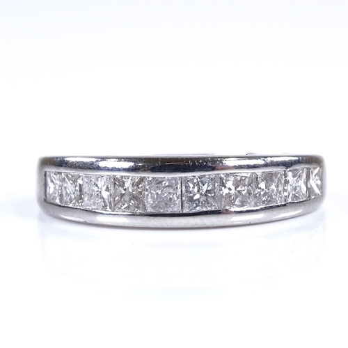 777 - A modern 18ct white gold Princess-cut diamond half eternity ring, total diamond content approx 0.5ct...