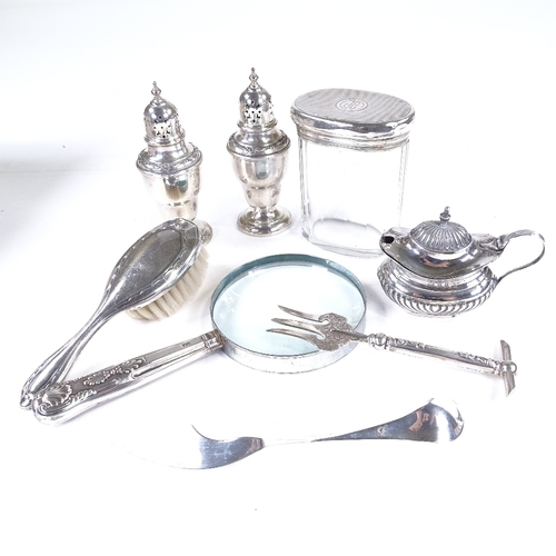 789 - Various silver items, including mustard pot, pickle fork, dressing table jar, pair of pepperettes et...