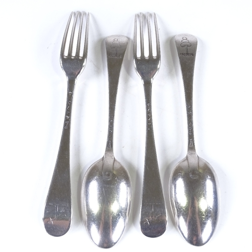 793 - Various 18th century silver flatware, including 2 dessert spoons by Elizabeth Oldfield, and 2 desser...