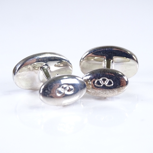 800 - LINKS OF LONDON - a modern pair of sterling silver cufflinks, panel length 19.8mm, 18.7g...