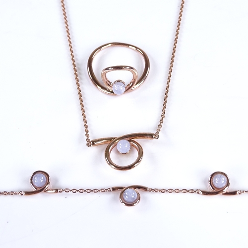 801 - LINKS OF LONDON - a modern rose gold plated sterling silver and blue lace agate Serpentine Collectio...