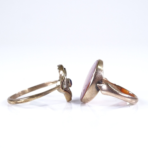 808 - An unmarked gold sardonyx panel seal ring, size J, 2.7g, and a 9ct gold sapphire and split pearl rin...
