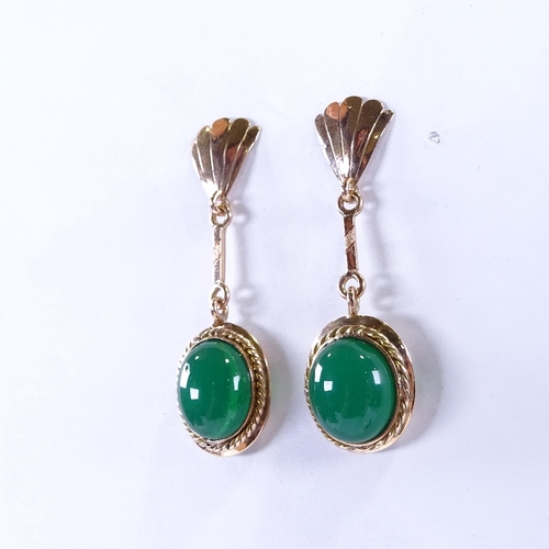 810 - A pair of 18ct rose gold cabochon chrysoprase drop earrings, earring height 42.7mm, 6g...