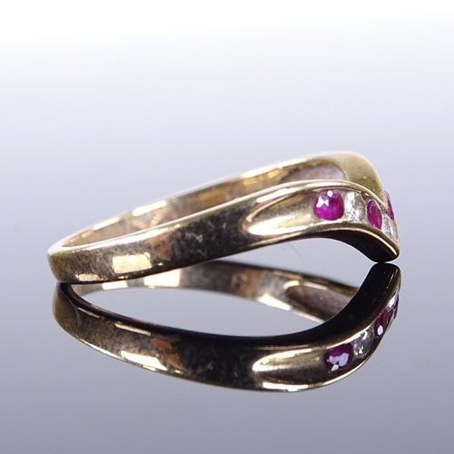 819 - A modern 9ct gold ruby and diamond wishbone ring, setting height 6.5mm, size O, 2 g...