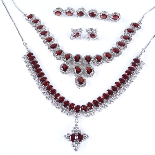 821 - 2 modern silver garnet and CZ matching necklace and earring sets, necklace lengths 42cm and 40cm...