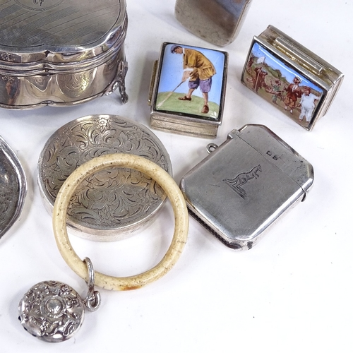 823 - Various silver, including dressing table jewel box, Vesta cases, baby rattles, propelling pencils, p...