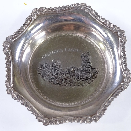 826 - LOCAL INTEREST - Hastings Castle silver pin dish, Hastings and St Leonards Rifle Club spoon, Rye Art...