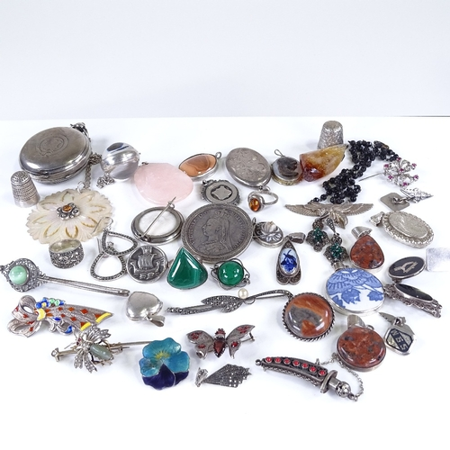 833 - Large collection of various silver and stone set jewellery, The Tivoli rock crystal watch, silver po...