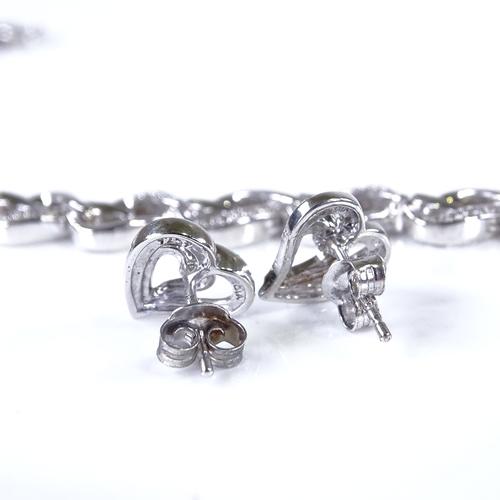 835 - A modern sterling silver and diamond heart design matching bracelet and earrings set, bracelet lengt...