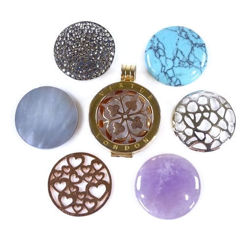 836 - VIRTUE OF LONDON - a modern interchangeable silver pendant, pendant height 34mm, boxed...