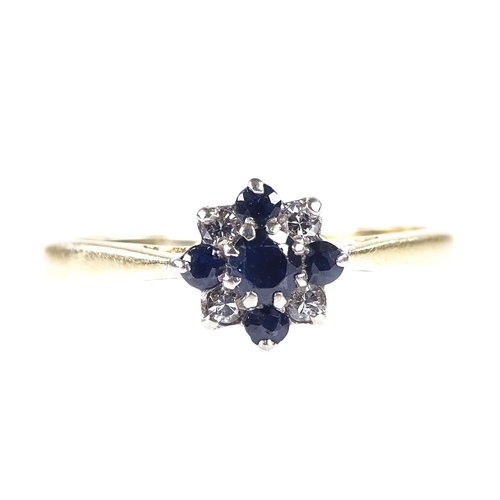 841 - A mid-20th century 18ct gold sapphire and diamond cluster flowerhead ring, setting height 7.4mm, siz...