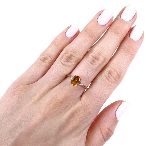 846 - A modern 9ct gold citrine and diamond dress ring, size P, 2.3g...