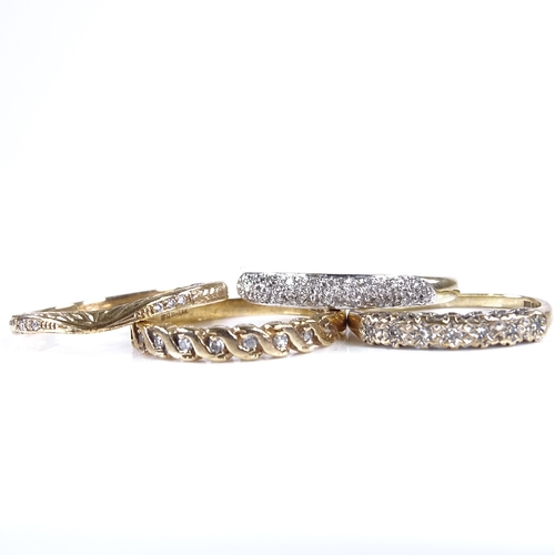 848 - 4 9ct gold diamond set rings, sizes M, P x 2 and T, 6.7g total (4)...