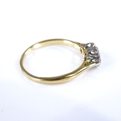 856 - A late 20th century 18ct gold 3-stone diamond ring, total diamond content approx 0.1ct, setting heig...