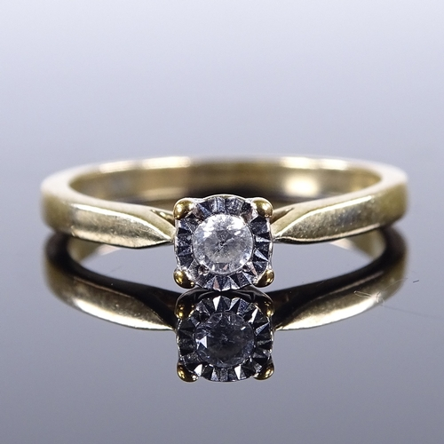 857 - A 9ct gold 0.07ct solitaire diamond ring, size K, 2g...