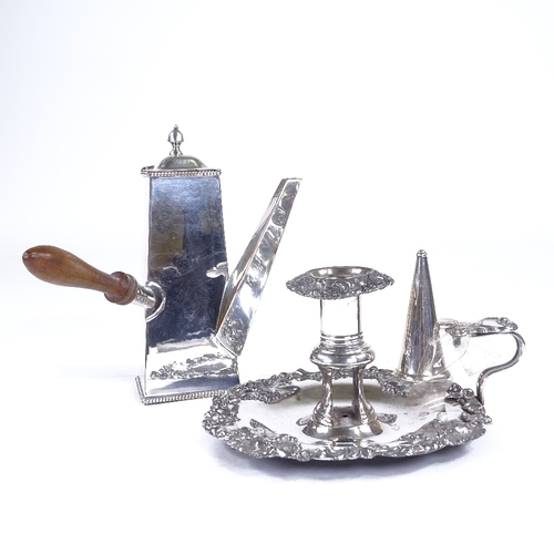 871 - A silver plated side-pouring chocolate pot, and a silver plated chamber stick...