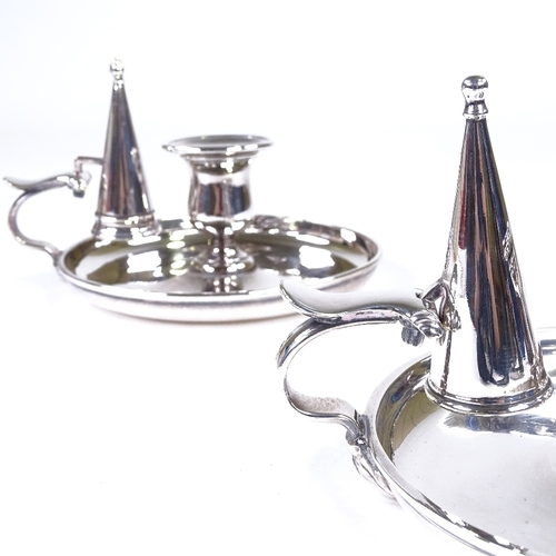 872 - A pair of silver plated chamber sticks with candle snuffers, diameter 15.5cm...