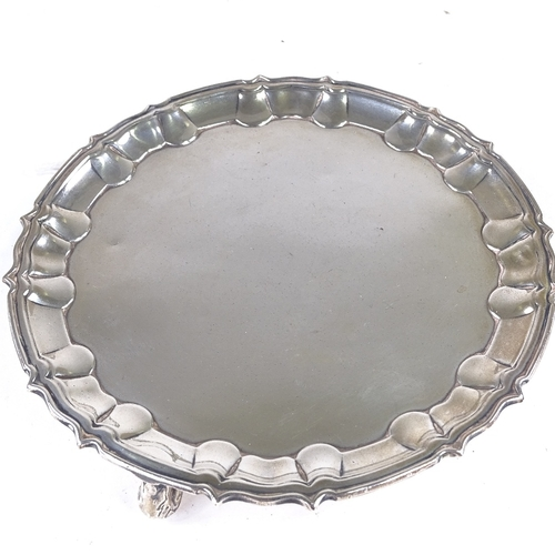 873 - An Edwardian circular silver salver, scalloped and reeded rim, by J Parkes & Co, hallmarks London 19...