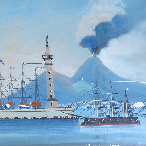 1002 - 19th century Italian School, pair of gouache on paper, views of Vesuvius erupting by night and day, ...