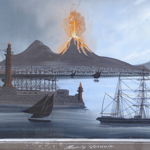 1003 - 19th century Italian School, gouache on paper, Vesuvius erupting by moonlight, unsigned, 19