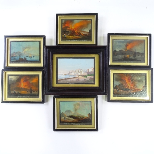 1004 - 19th century Italian School, a group of 7 miniature oil paintings and gouache paintings, studies of ...