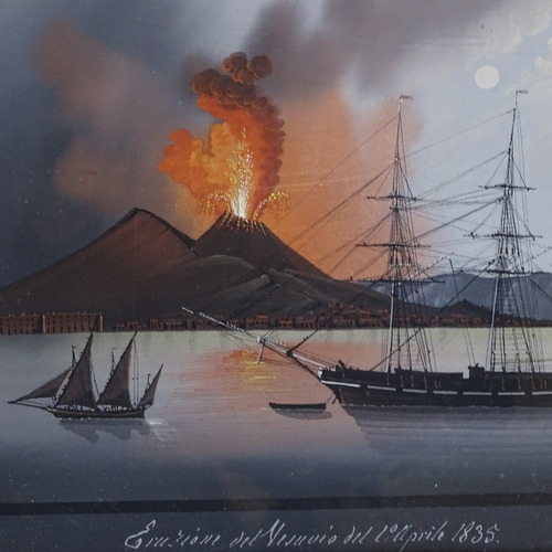 1005 - 19th century Italian School, pair of gouache on paper, Vesuvius erupting April 1835 by night and day...
