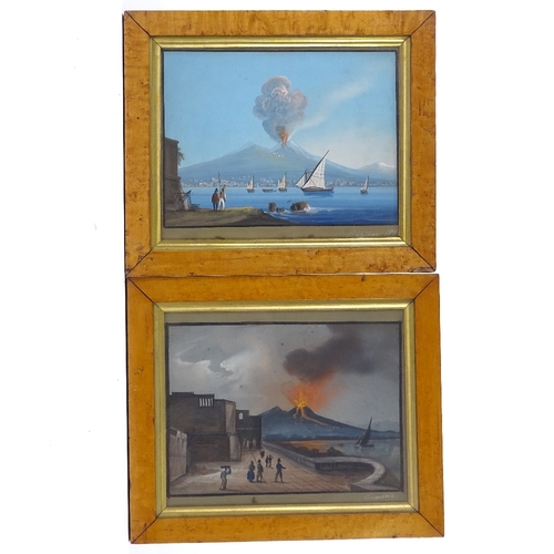 1006 - 19th century Italian School, pair of gouache on paper, Vesuvius erupting by night and day, signed Ca...