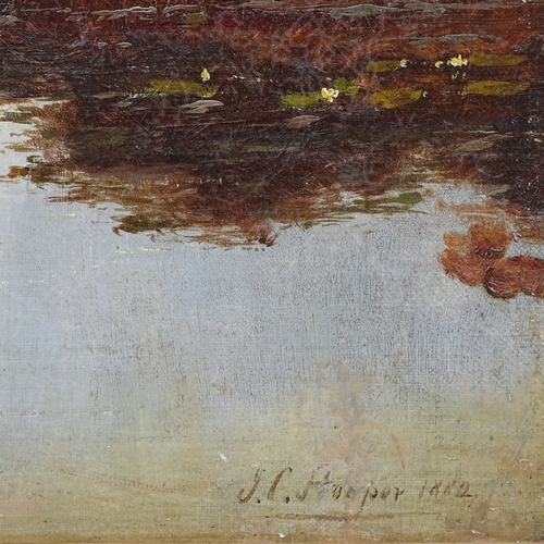 1007 - J C Hooper, 19th century oil on canvas, figure in a boat on the river, signed and dated 1882, 24