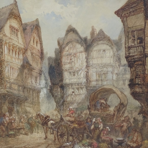 1009 - Paul Marny, large 19th century watercolour, the old market square Rouen, signed, 25