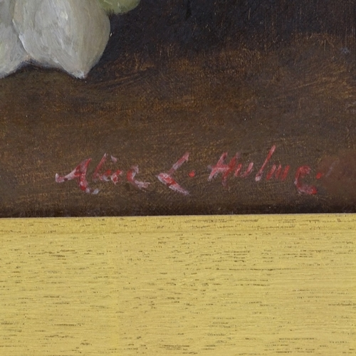 1027 - Alice Hulme, oil on canvas, Christmas roses, signed with artist's inscription verso, 12