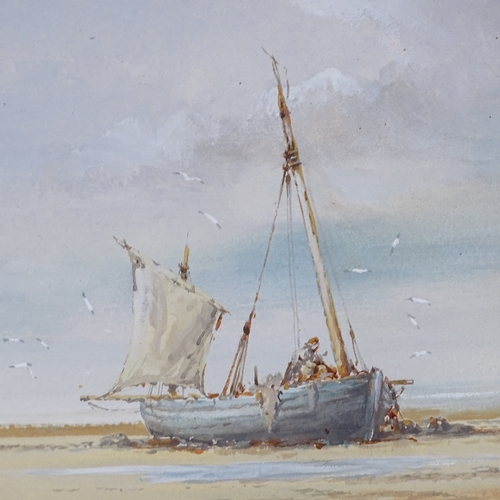 1029 - Ken Douglas, watercolour, fishing boats at low tide, signed, 7
