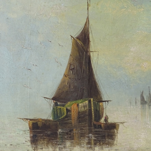 1030 - Early 20th century oil on canvas, fishing boats in the mist, unsigned, 15