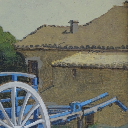 1032 - Mid-20th century oil on panel, the blue cart at Le Clos, Nioxelles, unsigned, 7