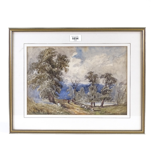 1034 - 19th century watercolour, travellers in landscape, unsigned, 9