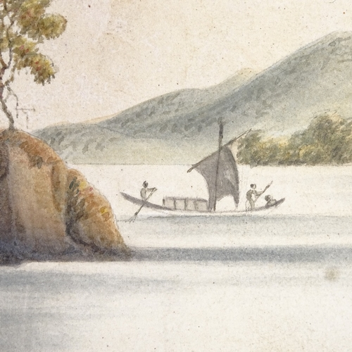 1035 - Chinese School, late 19th/early 20th century watercolour, coastal scene, unsigned, 4.5