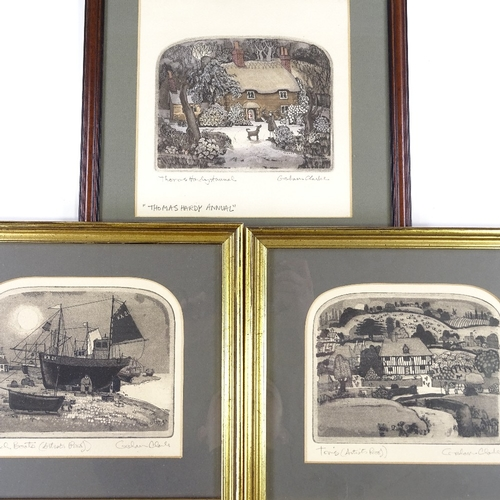 1040 - Graham Clarke, 3 small etchings, Thomas Hardy Annual, beach boats, and Tom's, all signed in pencil, ...