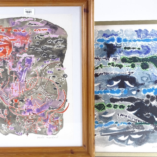 1041 - Andre Marchand, 2 original lithographs, the sea, circa 1966, both signed in pencil, sheet size 18