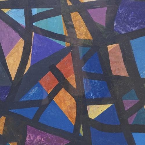 1042 - Nina Tryggvadottir (Icelandic), 2 mixed media abstract compositions, 1950s, both signed, 14